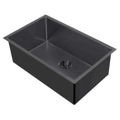 Noah Plus Dual Mount Stainless Steel 29 in. Single Bowl Kitchen Sink in Matte Black Sink Kit