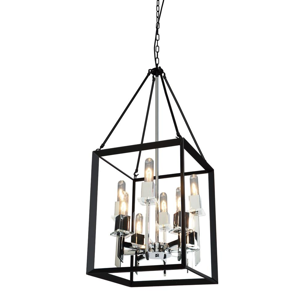 ARTCRAFT 8-Light Black and Chrome Chandelier