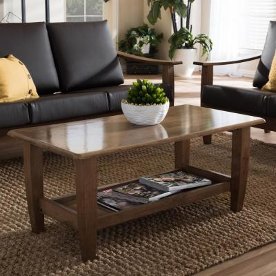Pierce 41 in. Medium Brown Large Rectangle Wood Coffee Table with Shelf