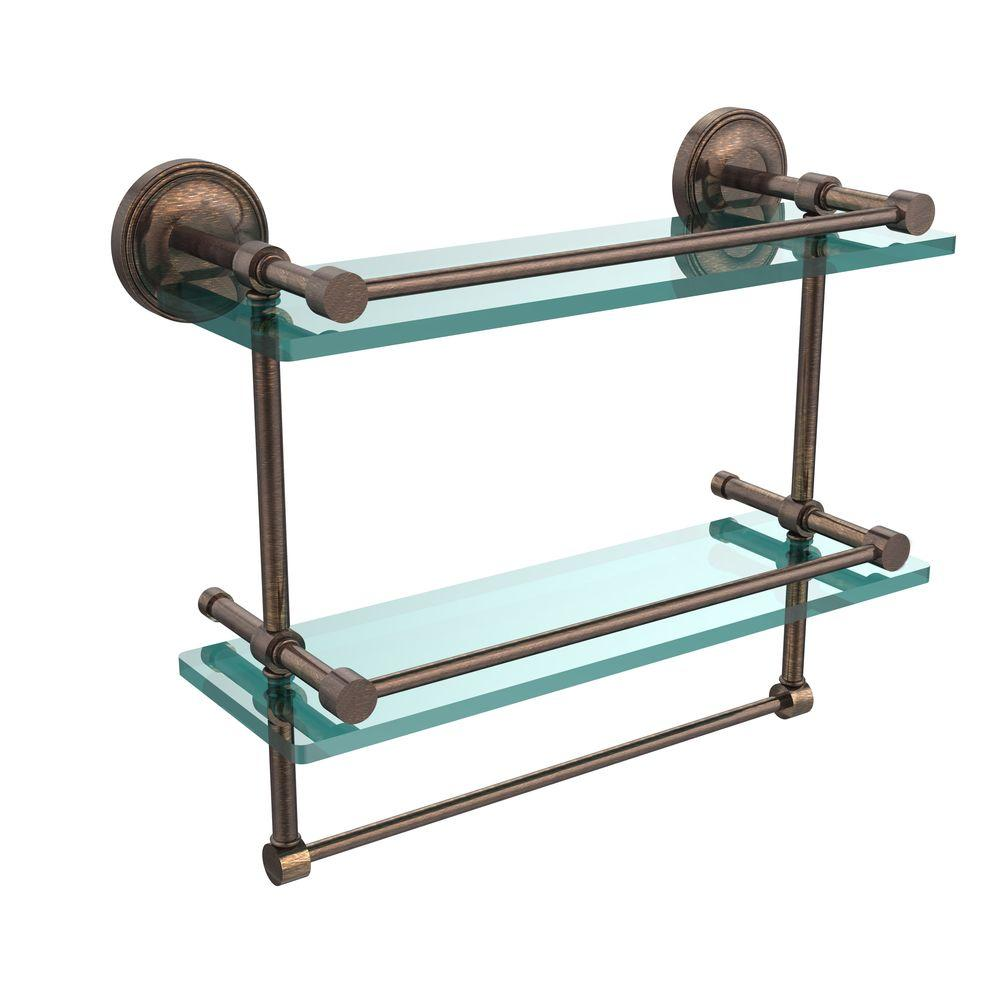 Allied Brass 16 in. L  x 12 in. H  x 5 in. W 2-Tier Gallery Clear Glass Bathroom Shelf with Towel Bar in Venetian Bronze