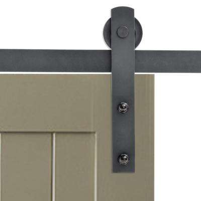 Matte Black Classic Straight Strap Barn Style Sliding Door Track And  Hardware Set