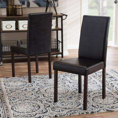 Andrew Dark Brown Faux Leather Upholstered Dining Chairs (Set of 2)