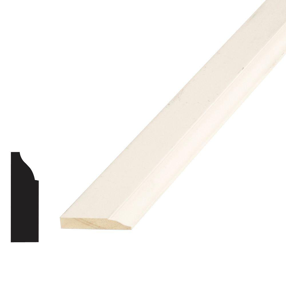 Alexandria Moulding WM 947 3/8 in. x 1-1/4 in. x 84 in. Pine Primed Finger-Jointed Stop Moulding
