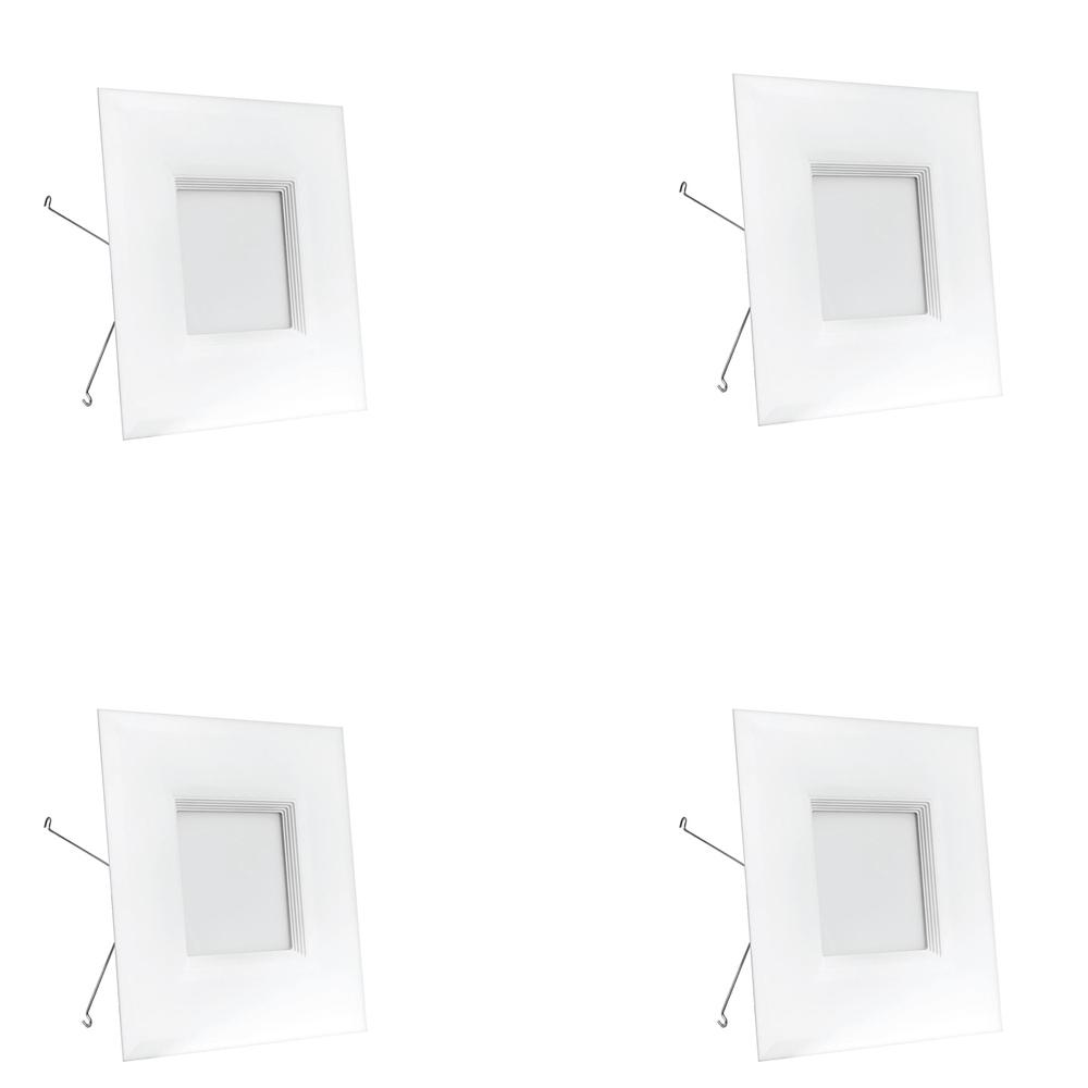 65W Equivalent Warm White 6 in. Square White Trim Recessed Retrofit