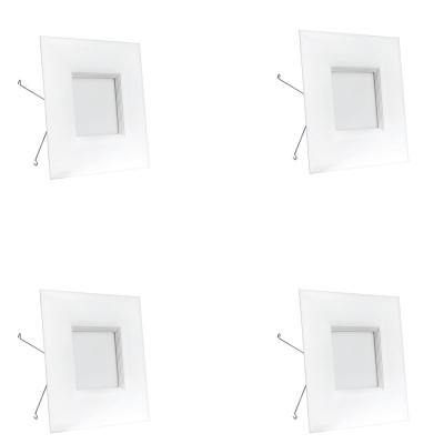 65W Equivalent Warm White 6 in. Square White Trim Recessed Retrofit Baffle R20 Downlight LED Module 90 CRI (4-Pack)