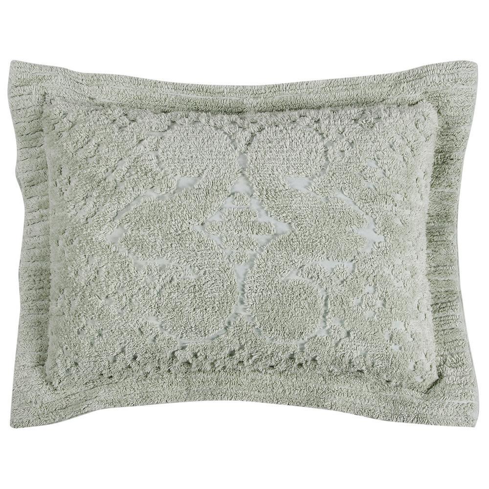 Ashton Collection in Medallion Design Sage Standard 100% Cotton Tufted Chenille Sham