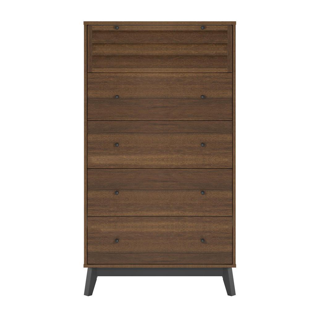Gammon 5-Drawer Walnut Dresser