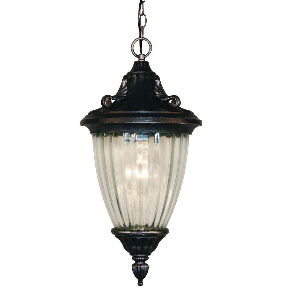 Tulen Lawrence 1-Light Outdoor Black Silver Incandescent Hanging Pendant