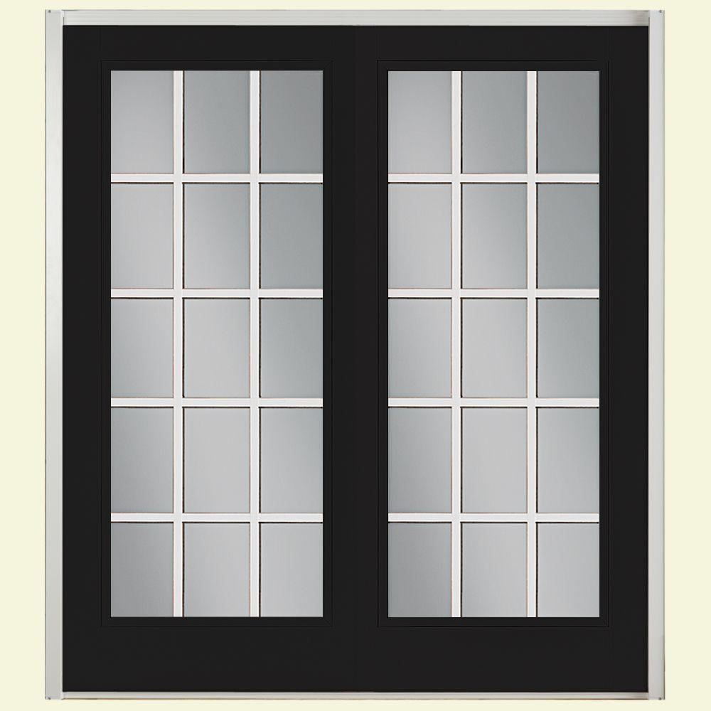Masonite 72 in. x 80 in. Jet Black Prehung Right-Hand Inswing 15 Lite GBG Fiberglass Patio Door with No Brickmold