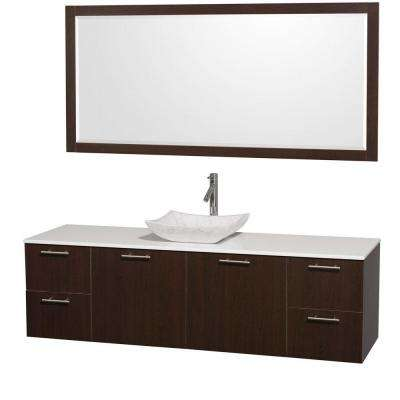 Amare 72 in. Vanity in Espresso with Man-Made Stone Vanity Top in White and Carrara Marble Sink