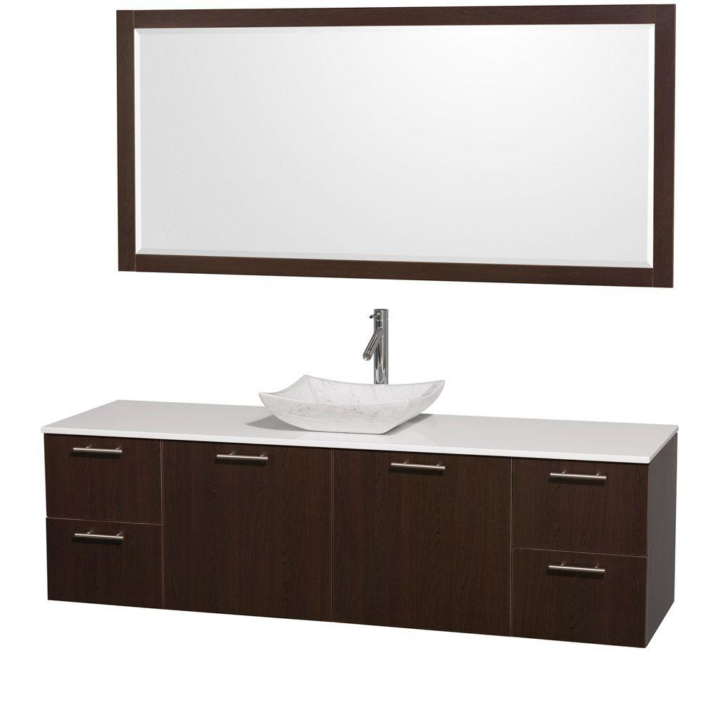 Wyndham Collection Amare 72 in. Vanity in Espresso with Man-Made Stone Vanity Top in White and Carrara Marble Sink