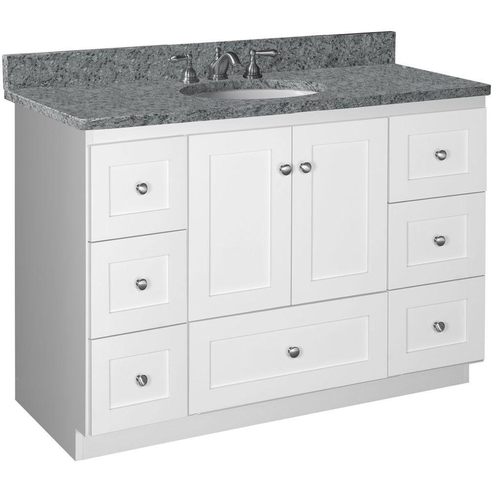 Shaker 48 in. W x 21 in. D x 34.5 in. H Vanity Cabinet Only in Satin White