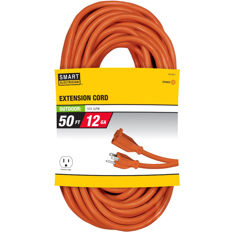Southwire 50 Ft 10 3 Stw 20 Amp Power Distribution Outdoor Heavy Extension Cord Wiring 12 Orange