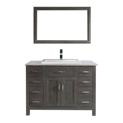 Kelly 48 in. Vanity in French Gray with Solid Surface Marble Vanity Top in Carrara White and Mirror