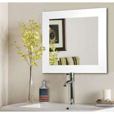 29.5 in. x 29.5 in. White Satin Wide Square Vanity Wall Mirror
