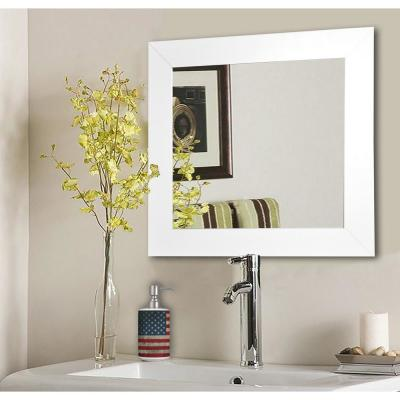 39.5 in. x 39.5 in. White Satin Wide Square Vanity Wall Mirror