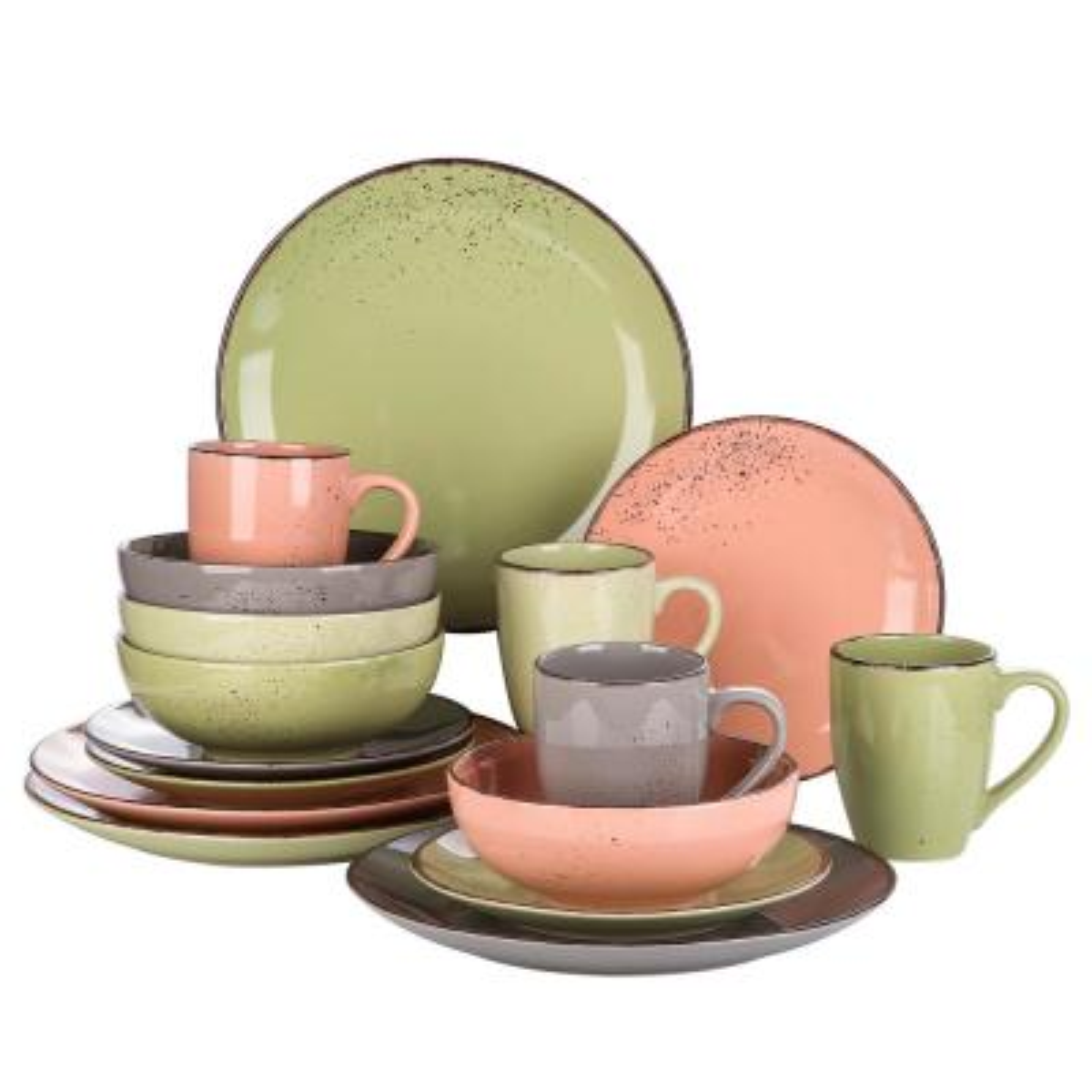 Navia Jardin 16-Piece Assorted Colors Porcelain Dinnerware Sets Plates and Bowls Set Coffee Mug(Service Set For 4)