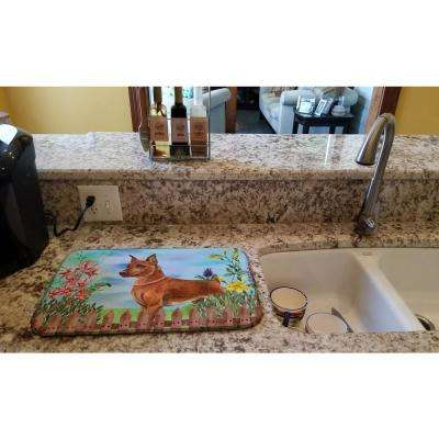 14 in. x 21 in. Multicolor Miniature Pinscher Spring Dish Drying Mat