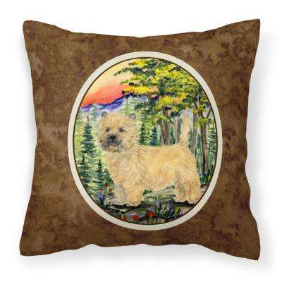 14 in. x 14 in. Multi-Color Lumbar Outdoor Throw Pillow Cairn Terrier Decorative Canvas Fabric Pillow