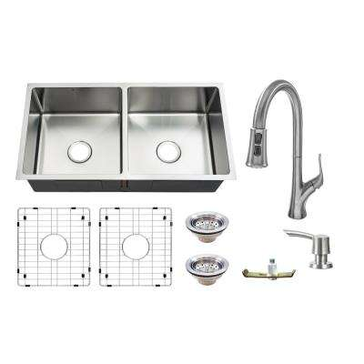 All-in-One Undermount 18-Guage Stainless Steel 36 in. Double Bowl Kitchen Sink w/ Pull Down Faucet in Brushed
