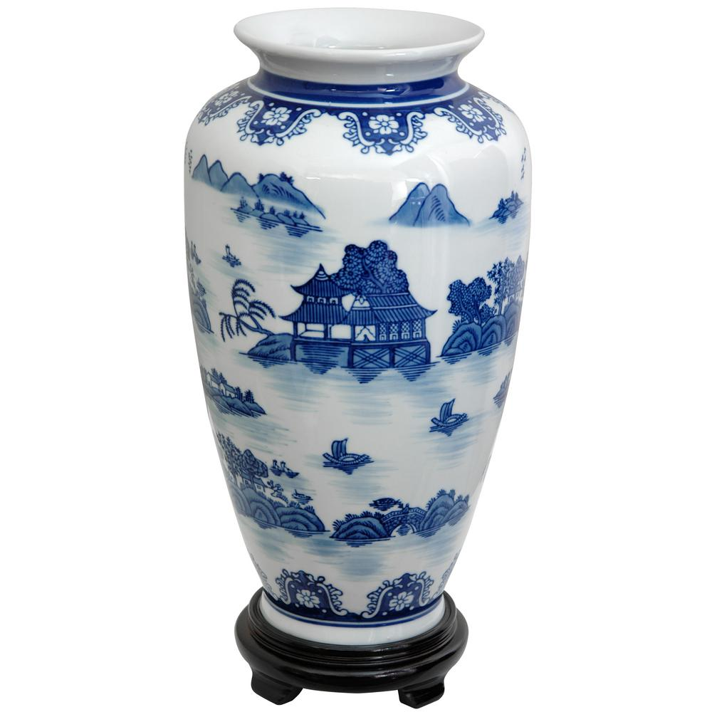 Oriental Furniture 14 In Porcelain Decorative Vase Blue