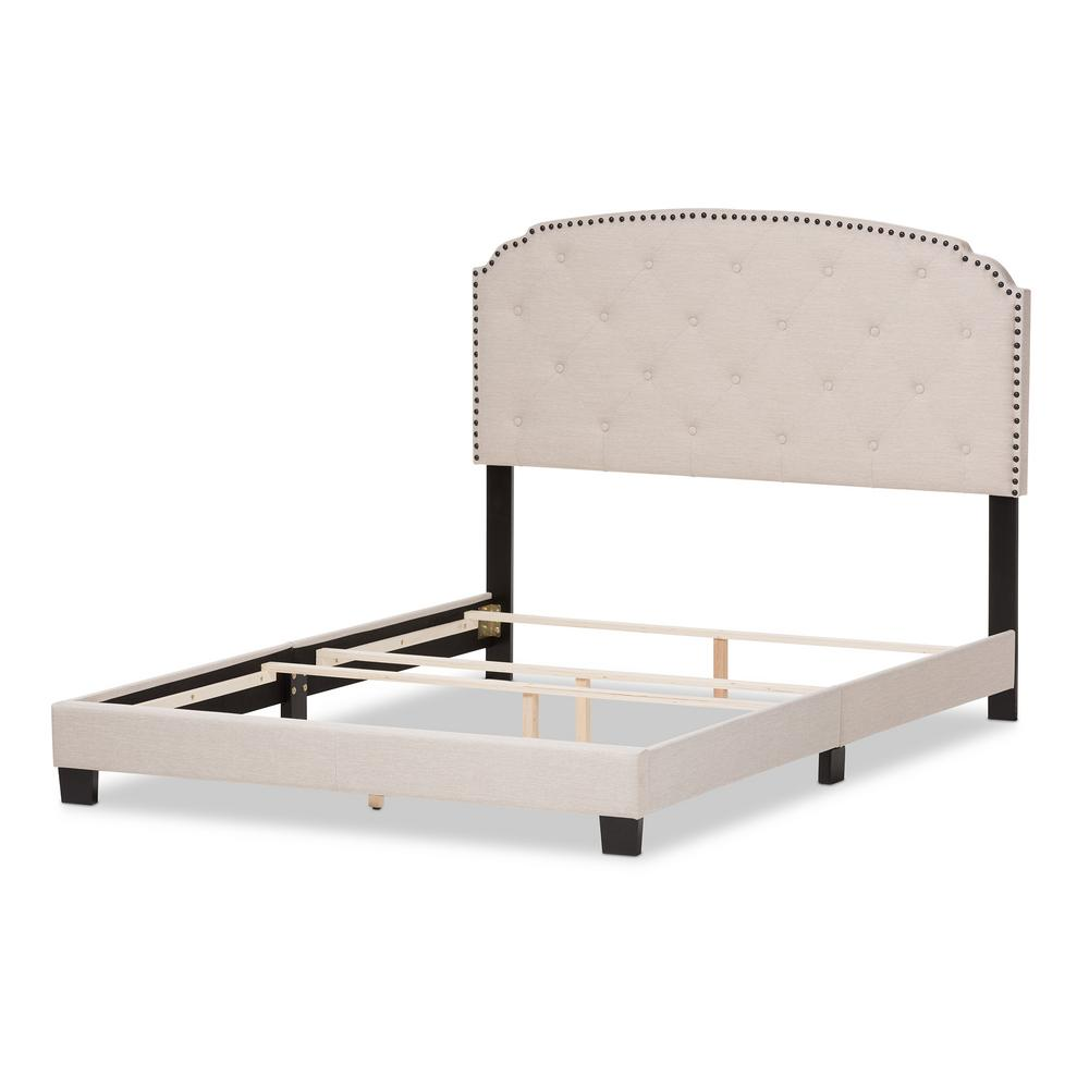 Lexi Beige Fabric Upholstered Queen Bed