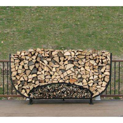 8 ft. Firewood Storage Log Rack with Kindling Holder Round Leg Steel
