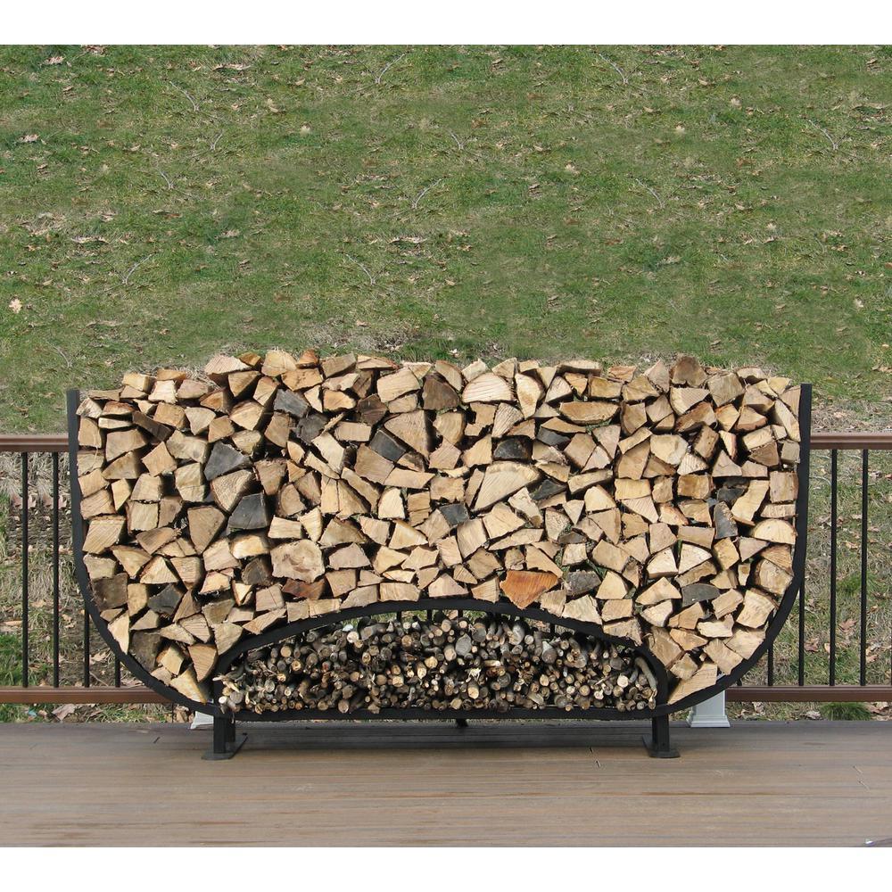 8 ft. Firewood Storage Log Rack with Kindling Holder Round Leg Steel