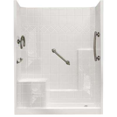 32 in. x 60 in. x 77 in. Freedom Low Threshold 3-Piece Shower Kit in White Brushed Nickel Package, LHS Seat, RHS Drain