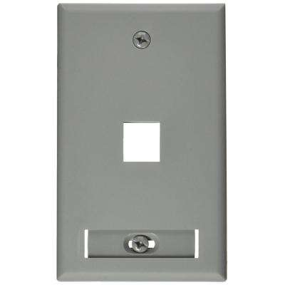 1-Gang QuickPort Standard Size 1-Port Wallplate with ID Window, Gray