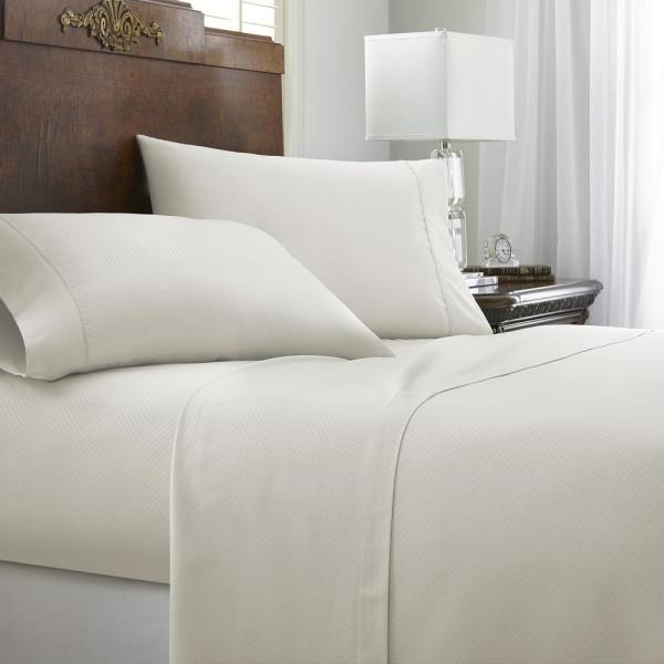 Becky Cameron Embossed Chevron Ivory Twin Performance 4-Piece Bed Sheet Set