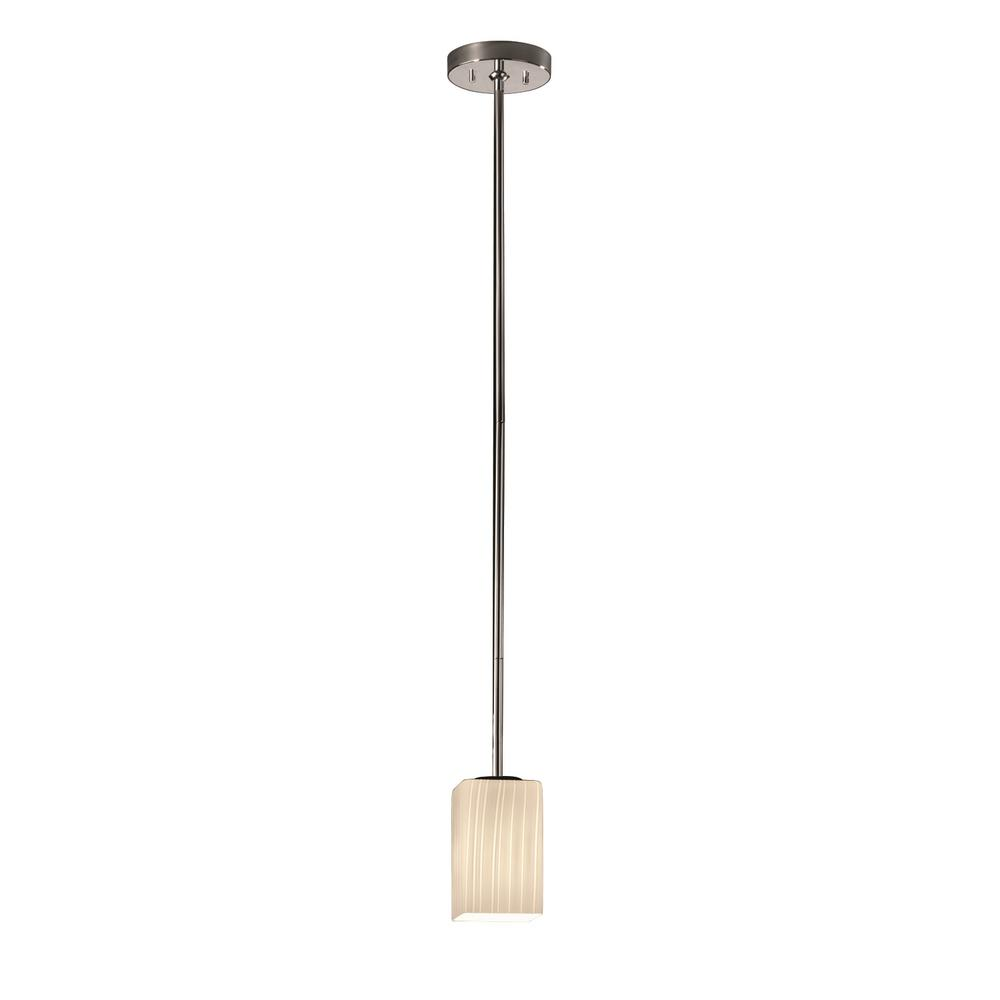 Justice Design Fusion 1-Light Polished Chrome Pendant with Ribbon Shade