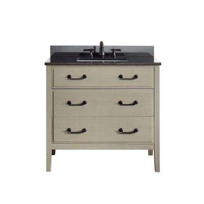 Delano 37 in. W x 22 in. D x 35 in. H Vanity in Taupe Glaze with Granite Vanity Top in Black with White Basin