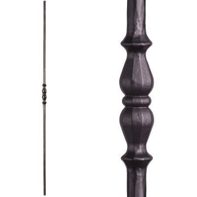 Tuscan Round Hammered 44 in. x 0.5625 in. Satin Black Long Single Knuckle Solid Wrought Iron Baluster