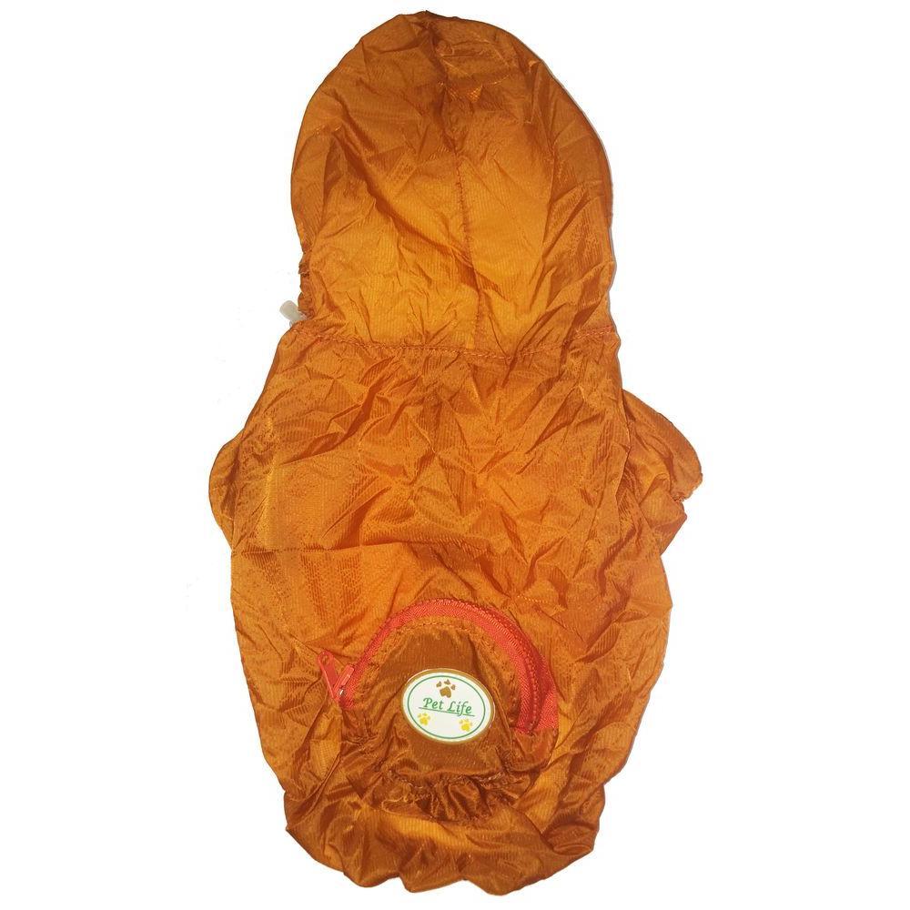 Medium Orange the Ultimate Waterproof Thunder-Paw Adjustable Zippered Folding Travel Dog Raincoat
