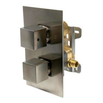 Thermostatic 2-Handle Shower Mixer with Temperature Control and Diverter in Brushed Nickel