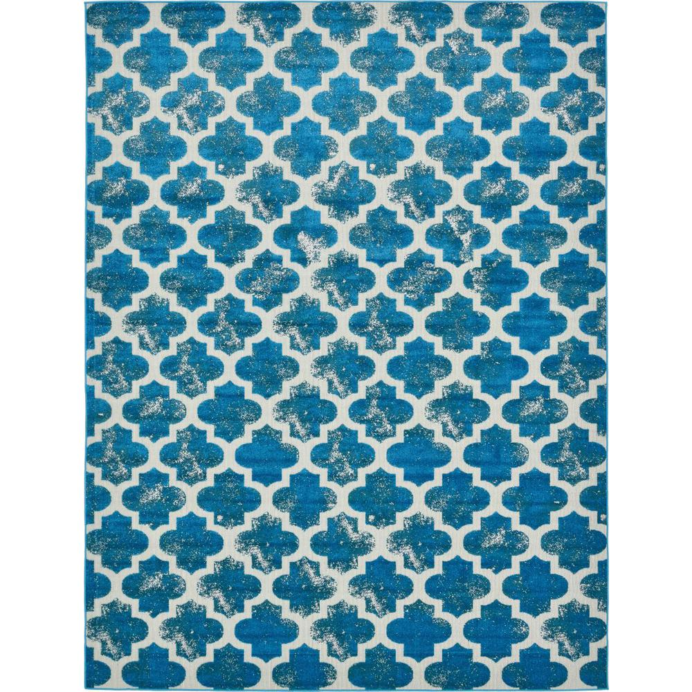 Unique Loom Transitional Turquoise 9 Ft. X 12 Ft. Area Rug