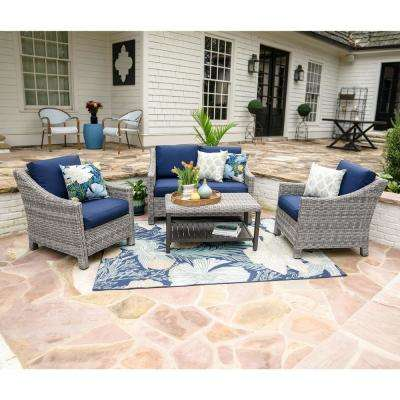 Marietta 4-Piece Wicker Patio Conversation Set with Navy Cushions