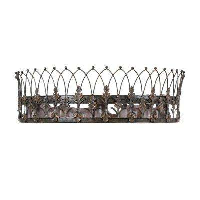 29 in. Metal Curtain Crown in Rust