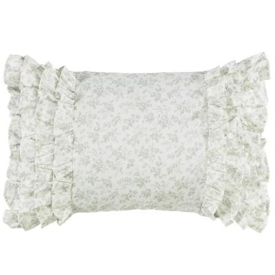 Harper Jade Green Floral Cotton 14 in. x 20 in. Throw Pillow