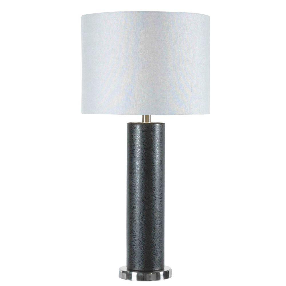 Kenroy Home Davidson 29 in. Black Faux Leather Table Lamp-DISCONTINUED