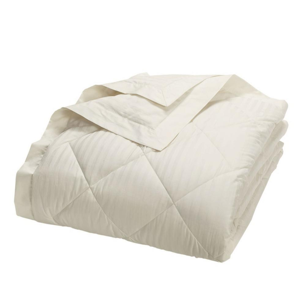 TheCompanyStore The Company Store Legends Damask Stripe Down Ivory Queen Blanket