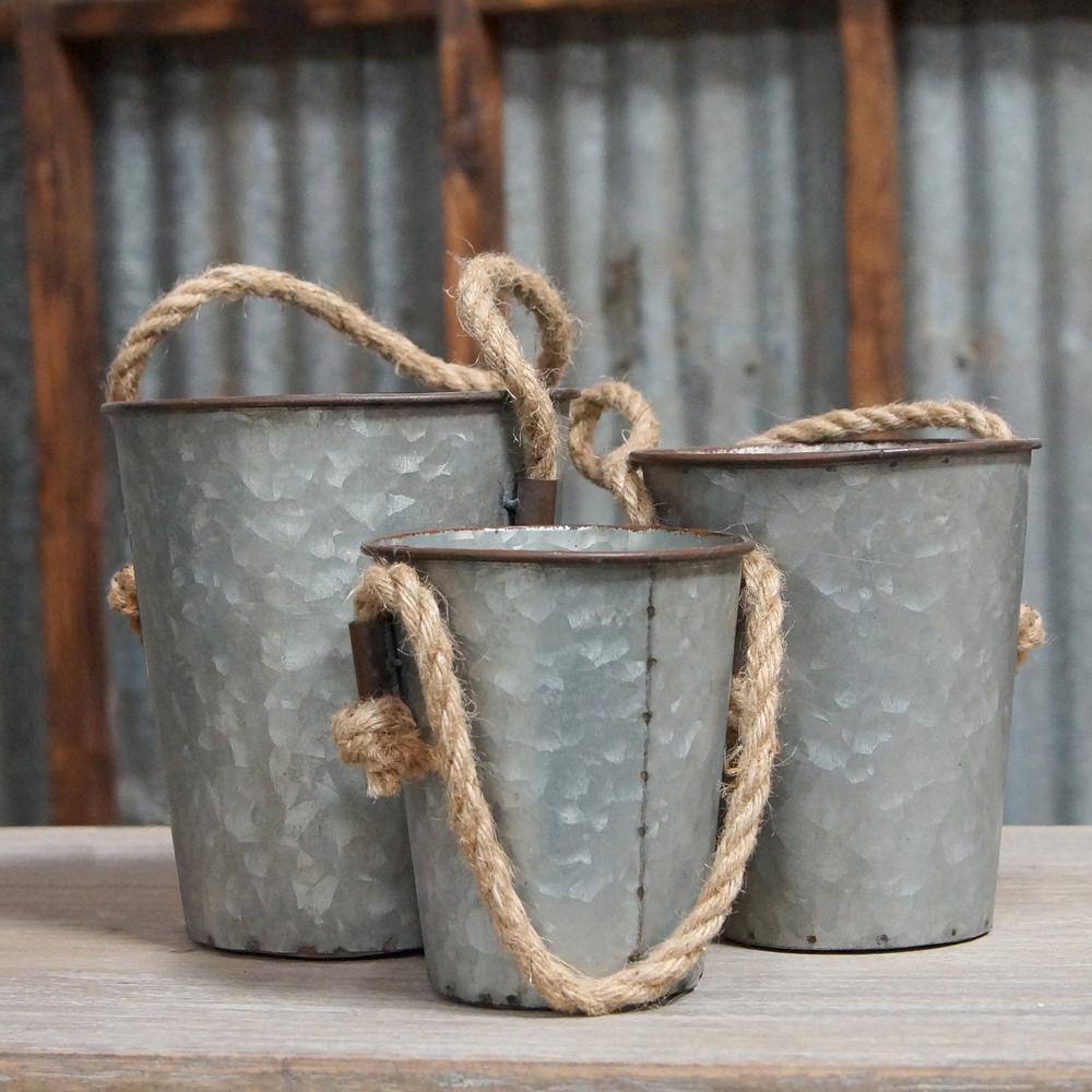 Metal Bucket with Rope Handle (Set of 3)