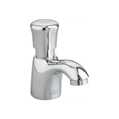 Pillar Tap Single Hole Single-Handle Bathroom Faucet with Push Handle in Polished Chrome