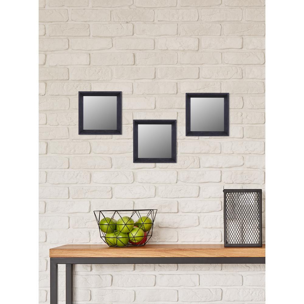 10.5 inch x 10.5 inch Espresso Plain Mirror (Set of 3) by