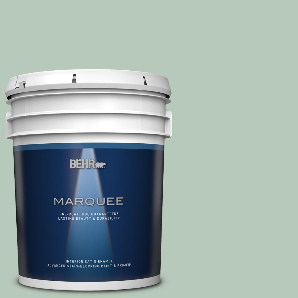 Behr Marquee 5 Gal S410 3 Ponds Edge One Coat Hide Satin Enamel Interior Paint Primer 745005 The Home Depot