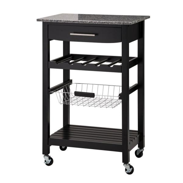 33.90 in. H Black with Marble Top Rolling Kitchen Island