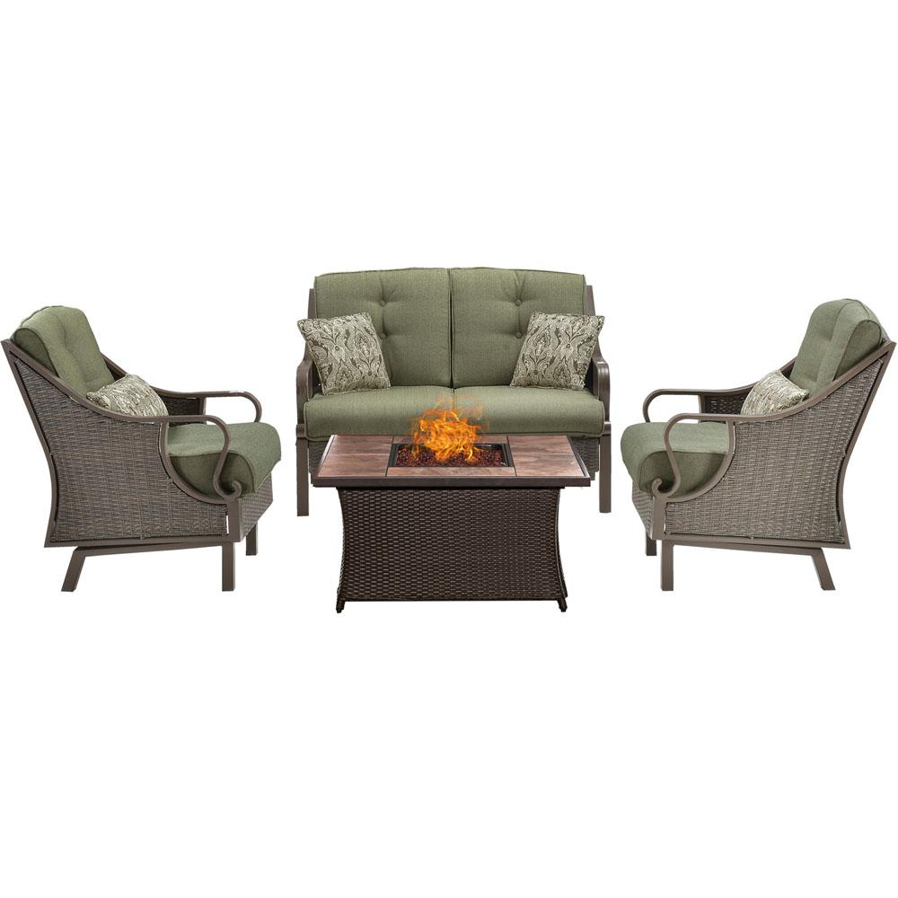 Hanover Ventura 4 Piece All Weather Wicker Patio Conversation Set With  Tile Top