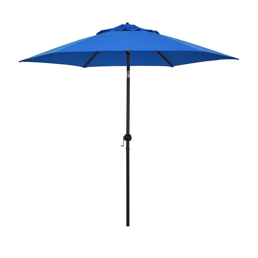 Astella 9 ft. Steel Market Push Tilt Patio Umbrella in Polyester Pacific Blue
