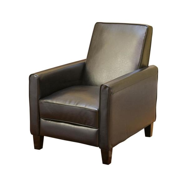 Noble House Darvis Black Leather Recliner Club Chair 224737